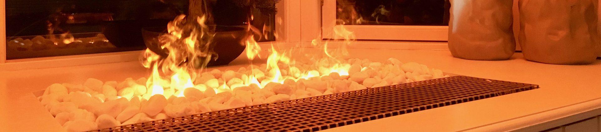 kaminfeuer mit wasserdampf
